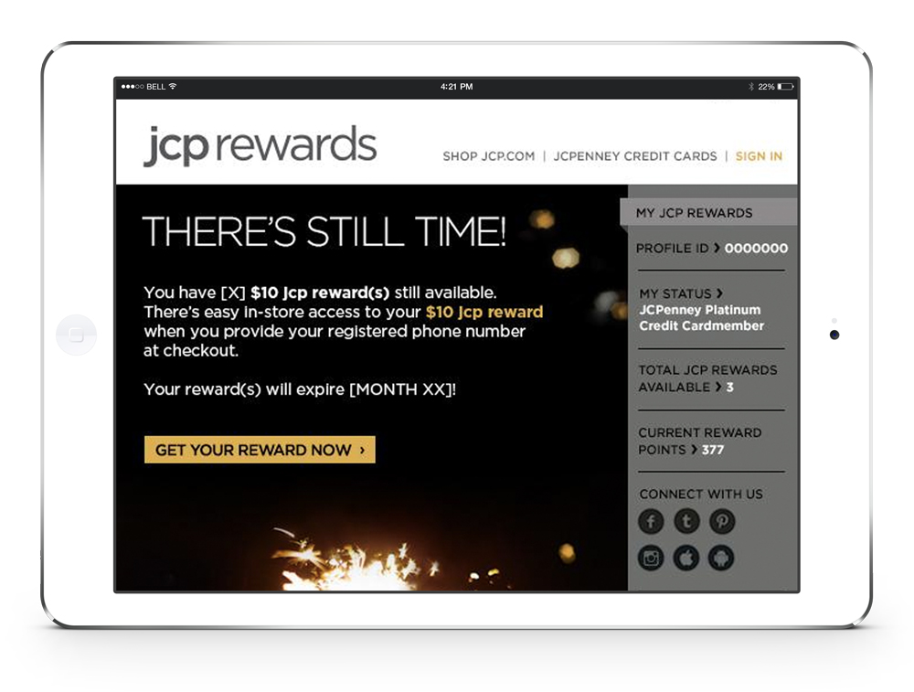 JCP Rewards dashboard