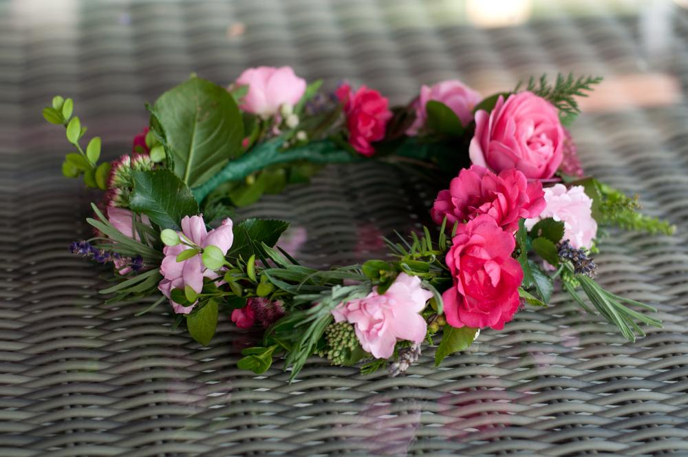 making flower crown wreath