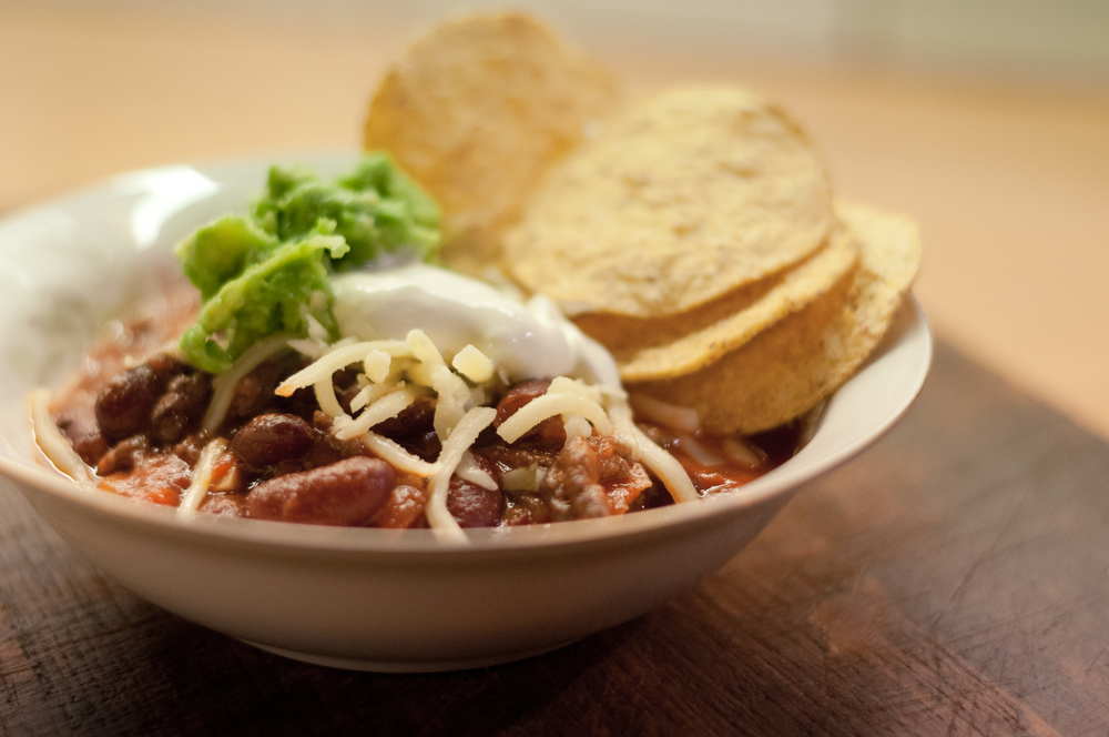 bison chili with guacamole