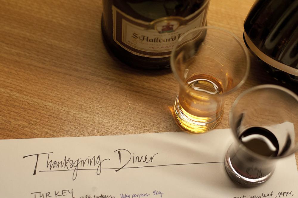 Dinner planning & taste testing mormor's homemade liquors.