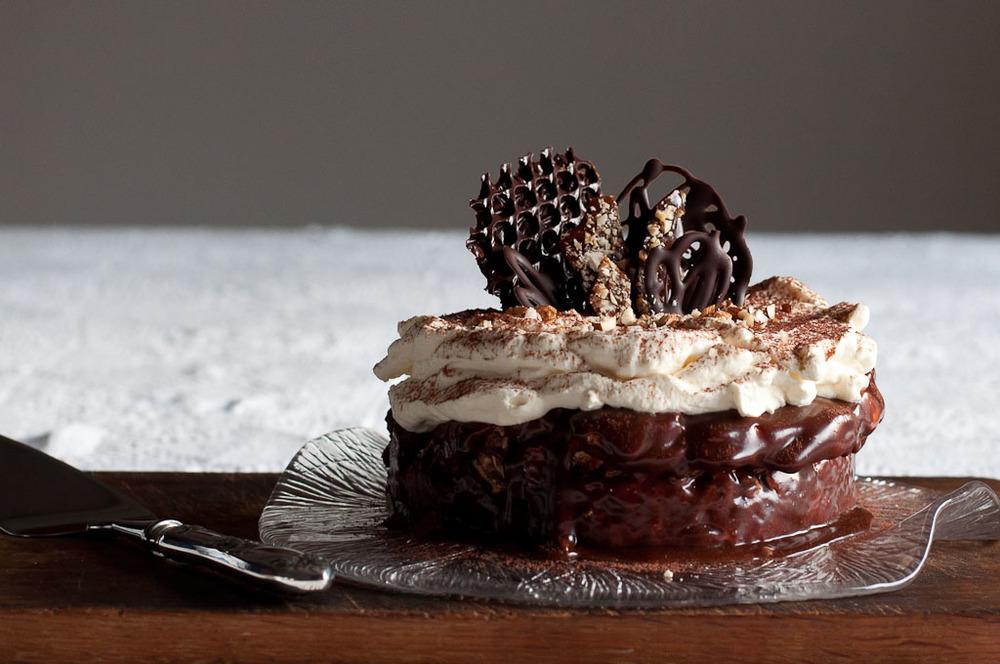 Chocolate Covered Almond Meringue Cake