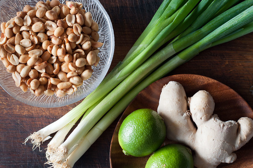 Coconut Curry Ingredients: Lime Ginger Scallions Peanuts
