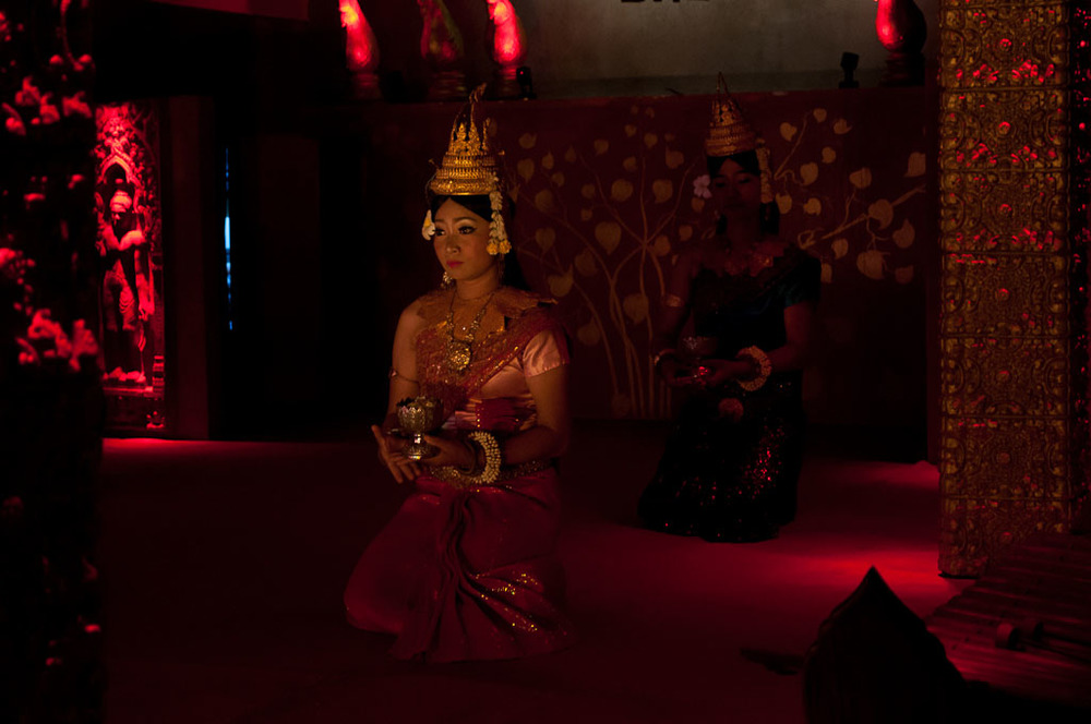 Apsara Dancer at Temple Club -- the headdress reminds me of the temple designs at Angkor.