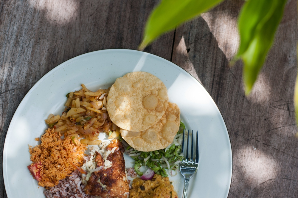Sri Lankan Rice and Curry Dahl Eggplant Sambal