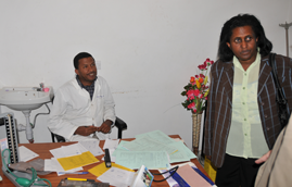 Sister Shewaye Alemu, Area Director for Addis Ababa, introduces the staff of Marie Stopes