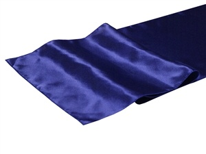 Navy Blue Satin Table Runner Hire