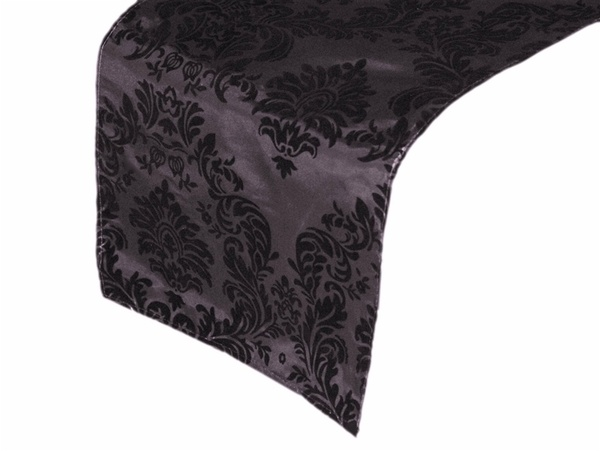 Damask Black and Silver Table Runner Hire