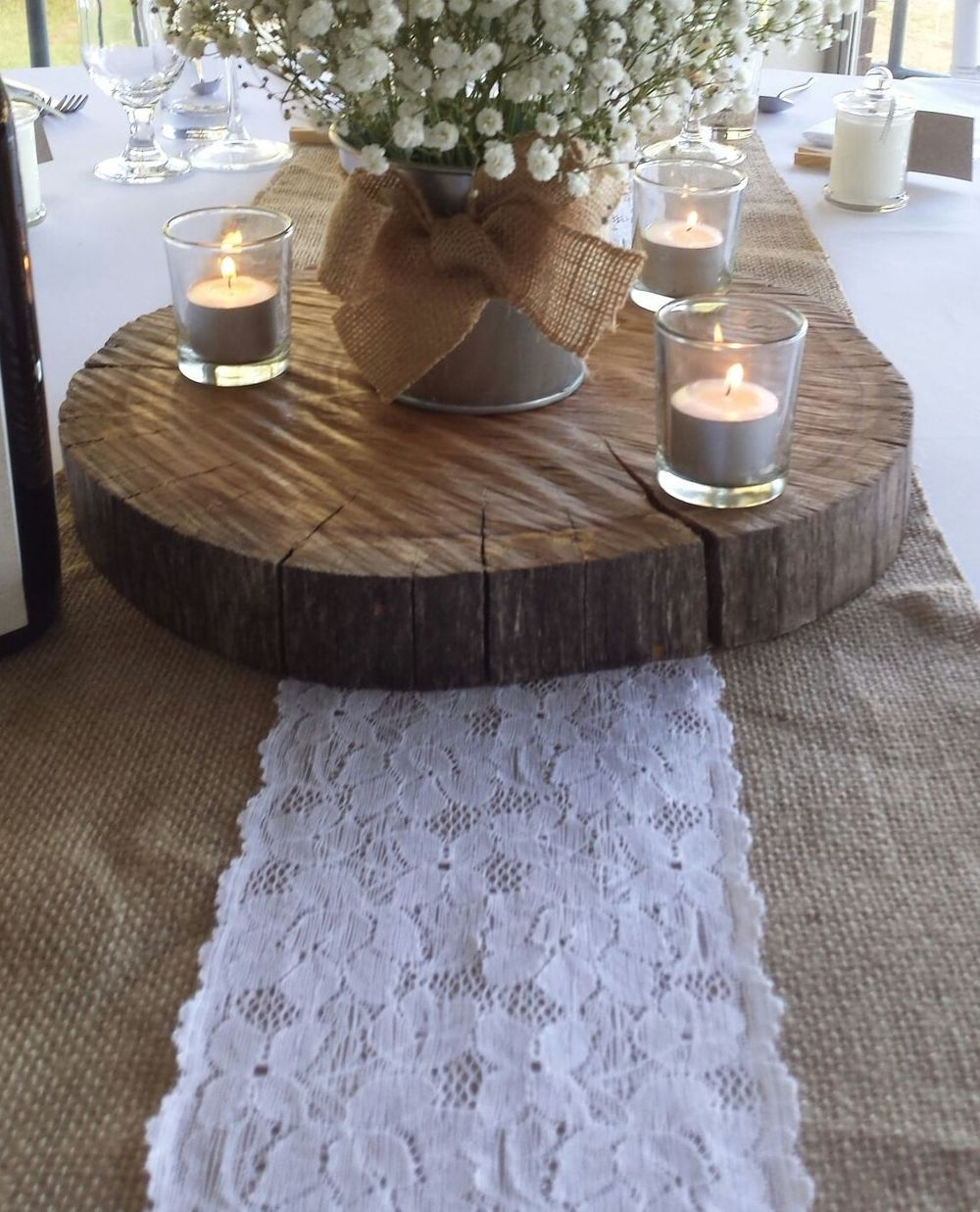 Burlap with Lace Table Runner Hire