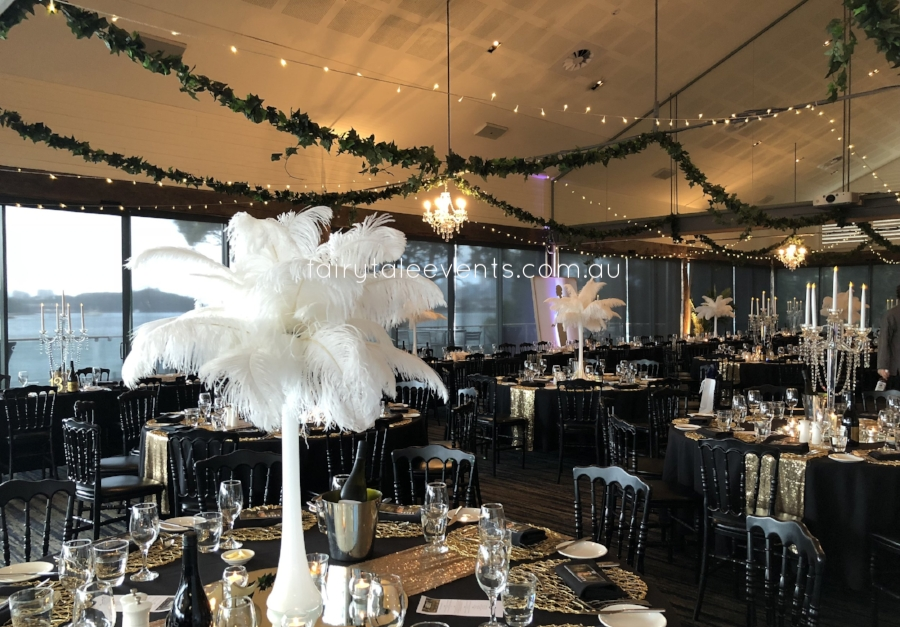 Ivy & fairy light installation, centrepieces linens by Fairytale Events.