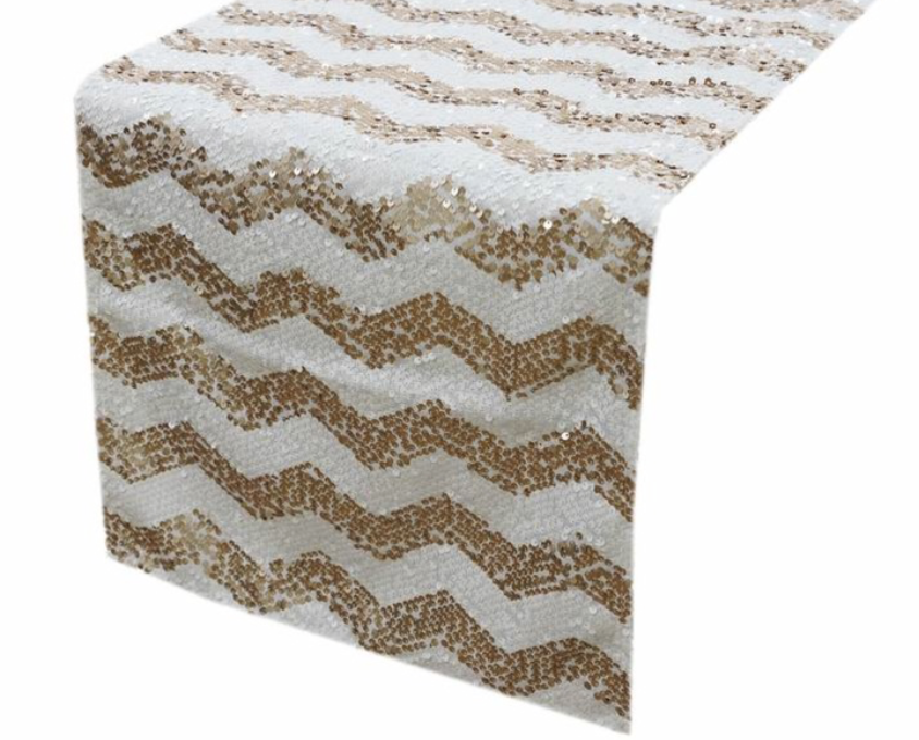 Chevron Gold and White Sequin Table Runner