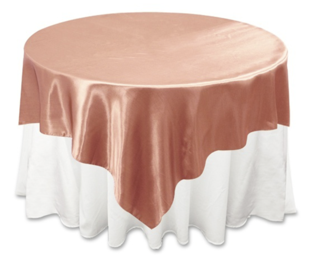 Dusty Rose Satin Table Overlay