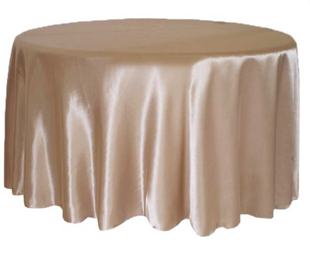 Rose Gold Satin Tablecloth Hire