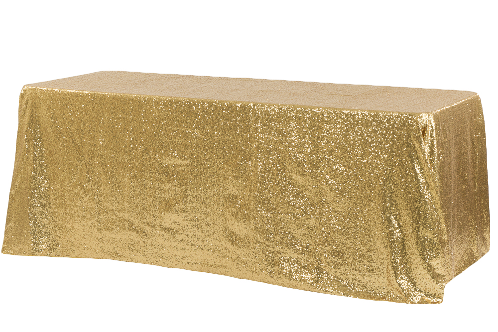 Gold sequin rectangle table cloth hire.jpg