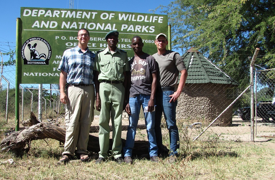 Pride in Our Prides Team: Eric LeFlore, Mr. Mwezi of DWNP, Pro Tomeletso and Dr. Florian Weise