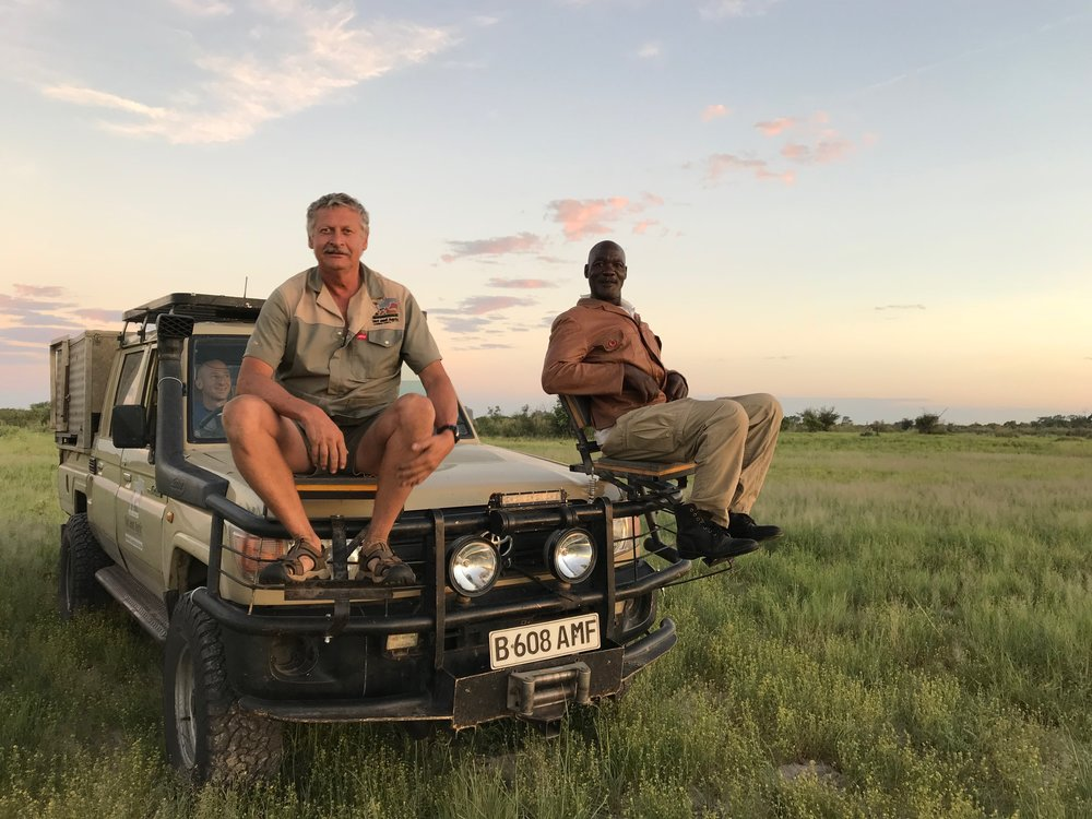 Dr Erik Verreynne and Chris Dimbende tracking on the front of the vehicle. photo: Krystal Wu