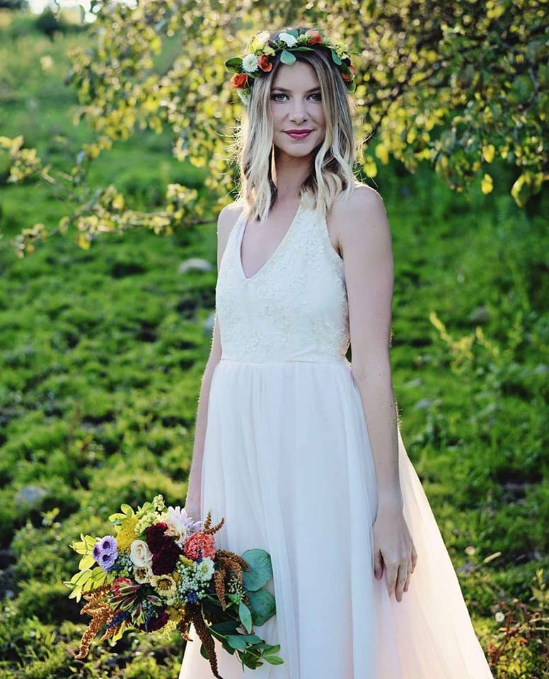 Photographer: Allison Marie Photography. Model: Loganne Gregg. MUA: Anstacia Mosher- Arnold. Floral: Marcy Brandt for Arnold's Florist. Location: The Frog Pond; Little Work, NY.