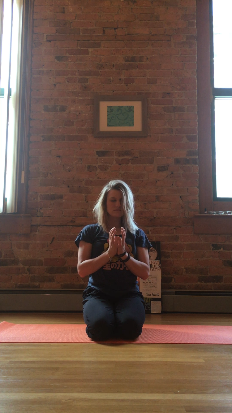 Kneeling with Lotus Mudra--  Begin in a kneeling or seated position. Let your thoughts and your breath slow down as your physical body starts to relax. Draw your hands to prayer position at your heart. Keeping the thumbs and the pinky fingers touching, spread your other three fingers away from one another. Gaze at your hands and notice the lotus flower that you've created. The lotus flower is symbolic of growth and change, rising above all that tore you down for so long.  Mantra--  Everything that lead me to this moment made me strong. I will keep moving forward. I will send my light out into the universe.