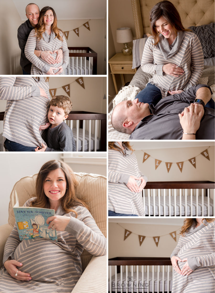 maternity photos at home nursery collage