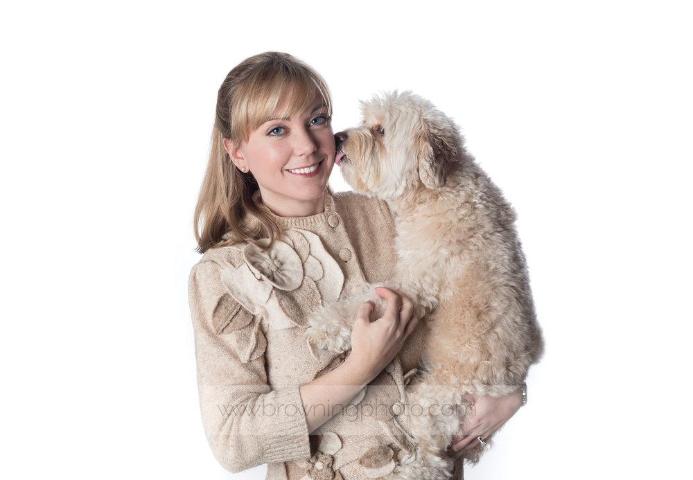 dog headshot with owner