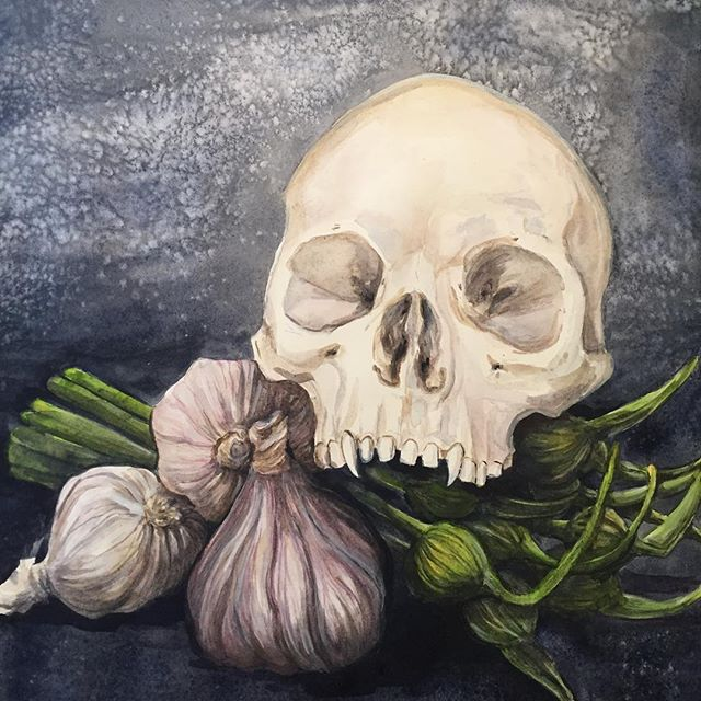 Can't decide if done or not, so it's probably time to move on. Garlic Breath, watercolor, casein and gouache.