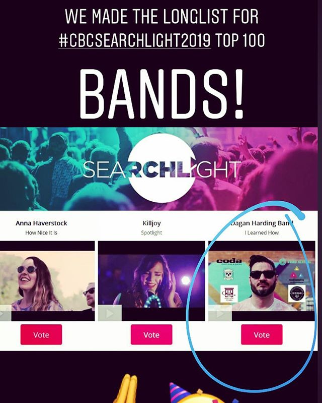 """Awesome news from @cbc_music today! Thanks to those that viewed and voted for """"I Learned How"""" over the past few weeks! We've somehow made the Longlist top 100 bands in the country....and on to the next round. Voting starts tomorrow! Grateful and pumped to rep Saskatchewan in this contest... and for all the support from across the country, and for all the weird and deadly National exposure, as well as for all the love from #CBC and you all! You can continue to vote at the link in my bio until the 26th and you can vote once a day! Also, shout out congrats to @annahaverstockmusic and @killjoy_saskatoon ! @cbcsask @saskmusic @creativesask @saskartsboard @creativesask @saskmusic @saskartsboard @factorcanada  #daganhardingband #Ilearnedhowep #cbcmusic #searchlightstandouts2019 #cbcsearchlight #yqrmusic #yqrrock #vote #daganharding #prairierock #Ilearnedhow #crushedrockets #regina #saskmusic #creativesask #saskartsboard #junos #prairierock #canadianrock #emo #indierock #indie #band #factor #sask"""