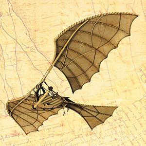 VÔO E OUTROS ESTUDOS Foi observando pássaros que Da Vinci fez os primeiros protótipos de máquinas voadoras. Como percebeu que somente a força humana não era suficiente para alçar vôo, elaborou dezenas de planadores, aviões, helicópteros e paraquedas.