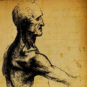 ANATOMIA Considerado um dos grandes anatomistas da história mundial, Leonardo Da Vinci realizou estudos diversos que abrangem proporções, anatomia, beleza e feiura, além de estudos anatômicos dos movimentos humanos.