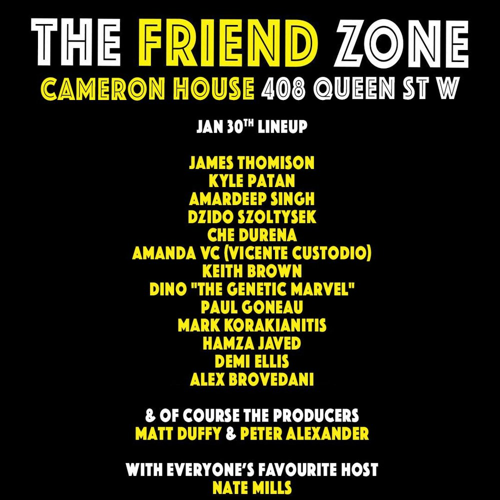 Friend Zone Comedy Line Up