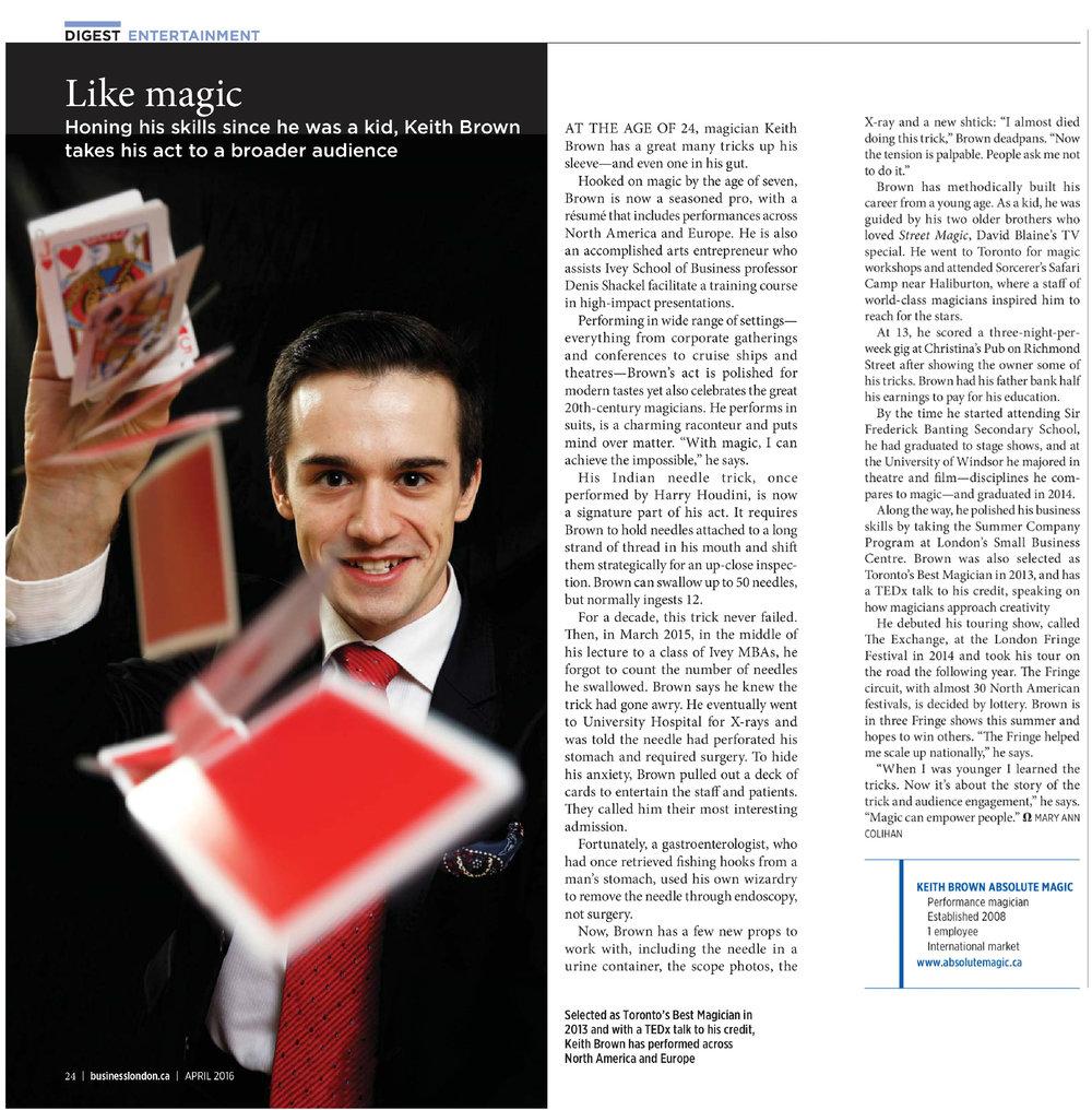 Business London Magazine Feature