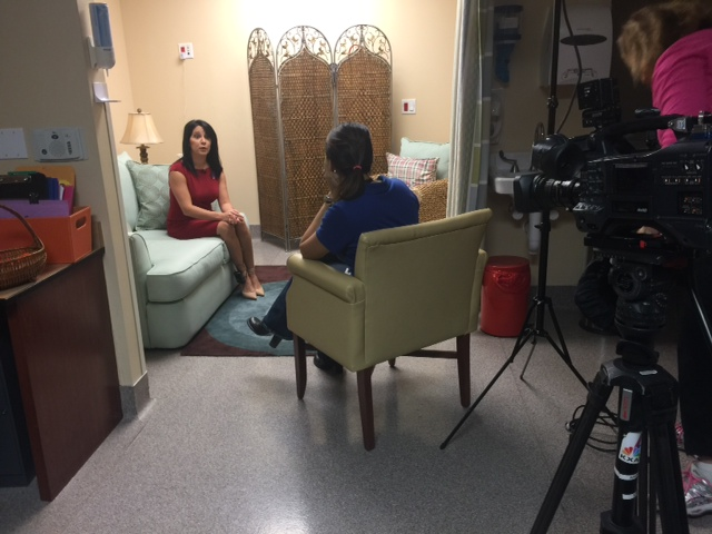 Behind the scenes photo of Roxanne Bunkoff during her interview with NBC