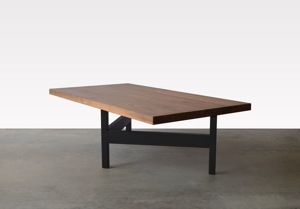Exceptional Custom Furniture In Denver Walnut Wood And Black Steel Base Coffee Table  Angle