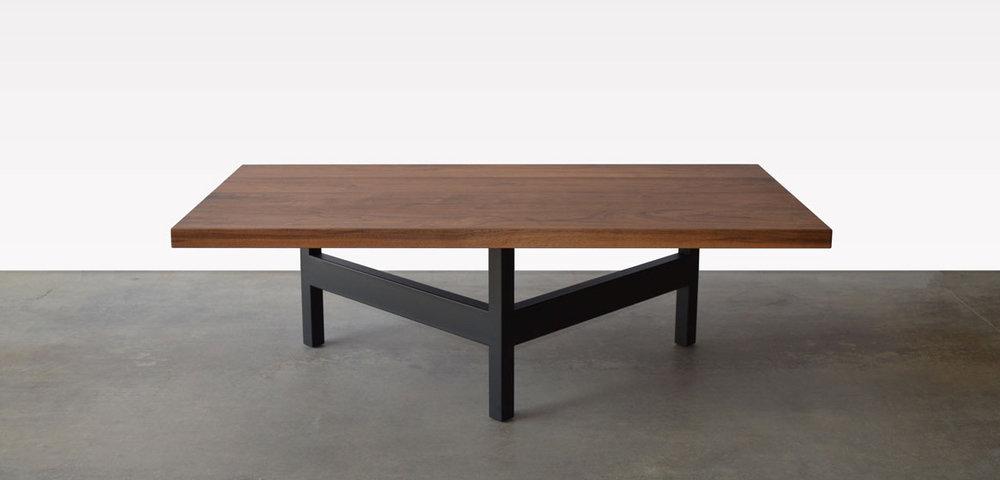 Walnut Wood And Black Steel Base Coffee Table In Denver Colorado Studio