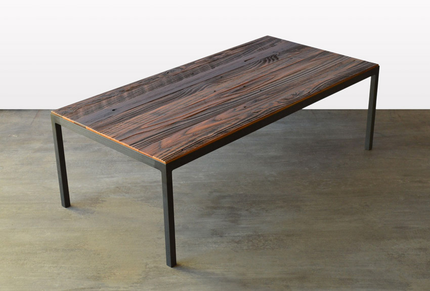 Genial Custom Furniture In Denver Local Reclaimed Wood And Steel Coffee Table Angle