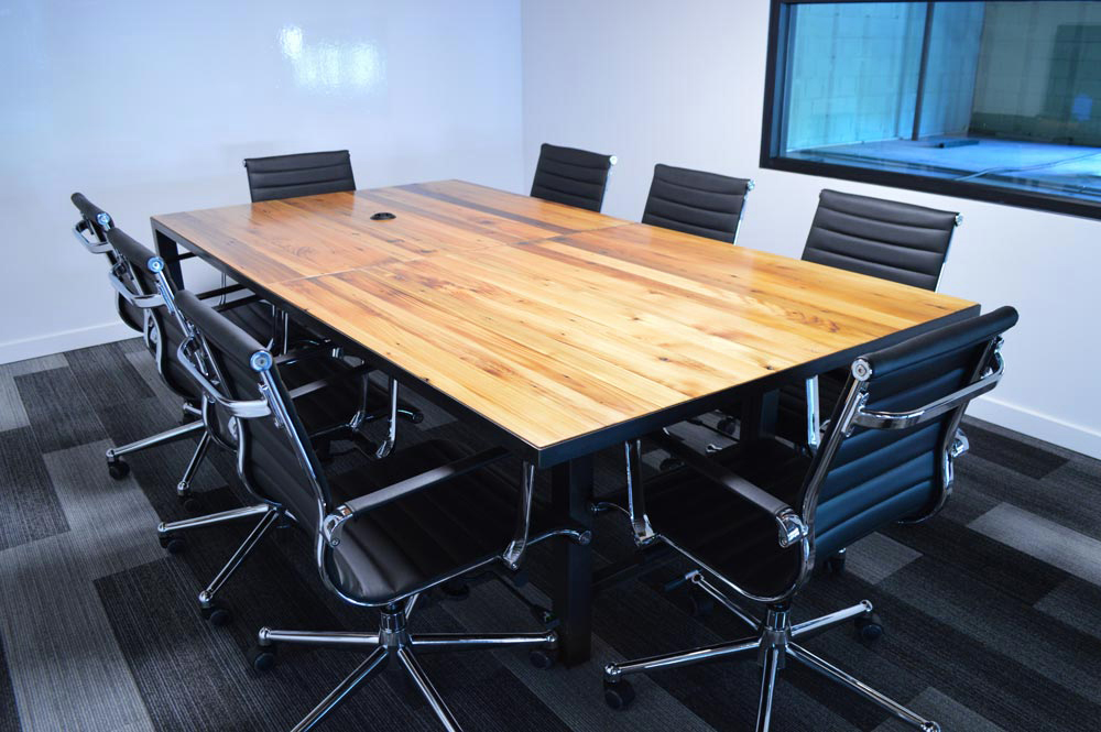 Custom Furniture In Denver Local Reclaimed Wood And Steel Conference Table  Alchemy