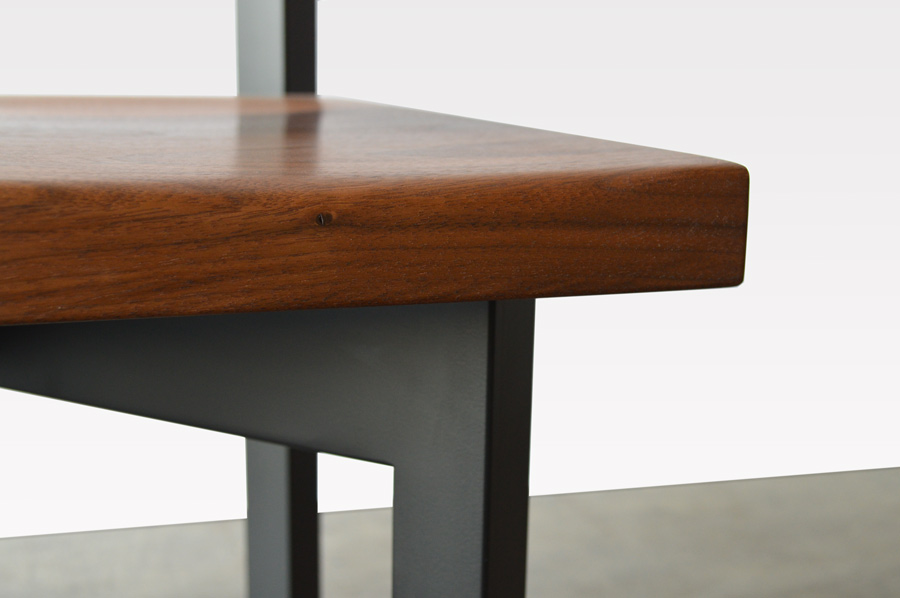 Custom Furniture In Denver Walnut Wood And Black Steel Base Chair Close 2