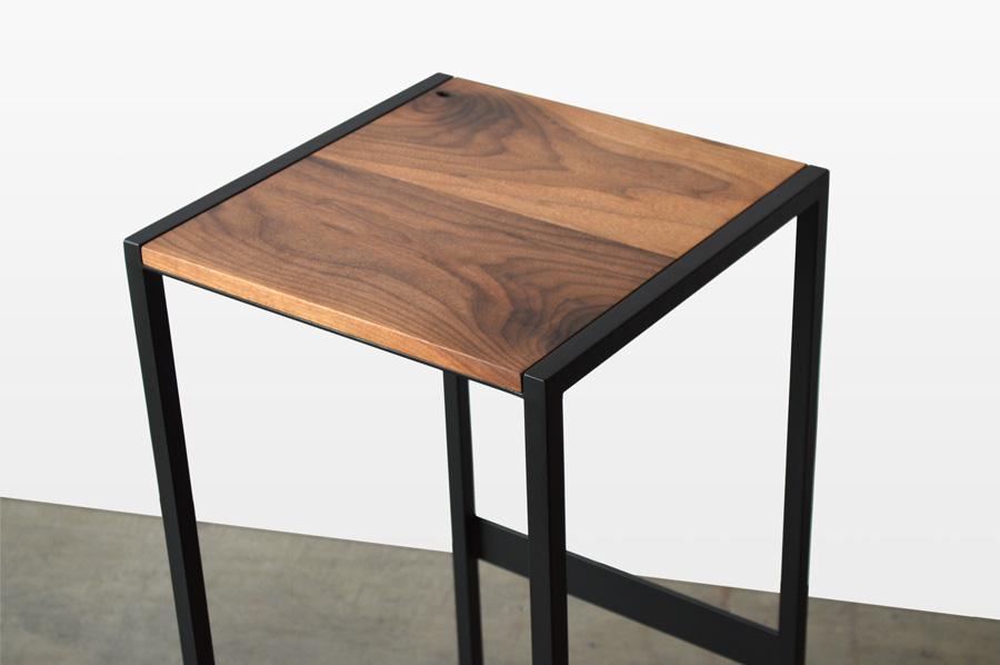 Custom Furniture In Denver Walnut Wood And Black Steel Base Bar Stool Close