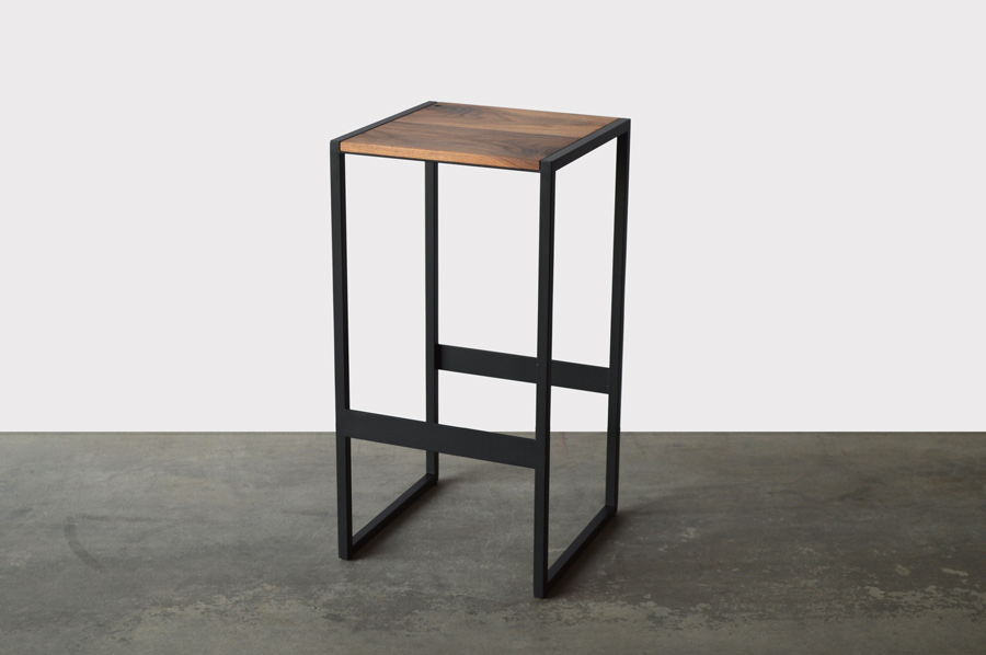 Custom Furniture In Denver Walnut Wood And Black Steel Base Bar Stool