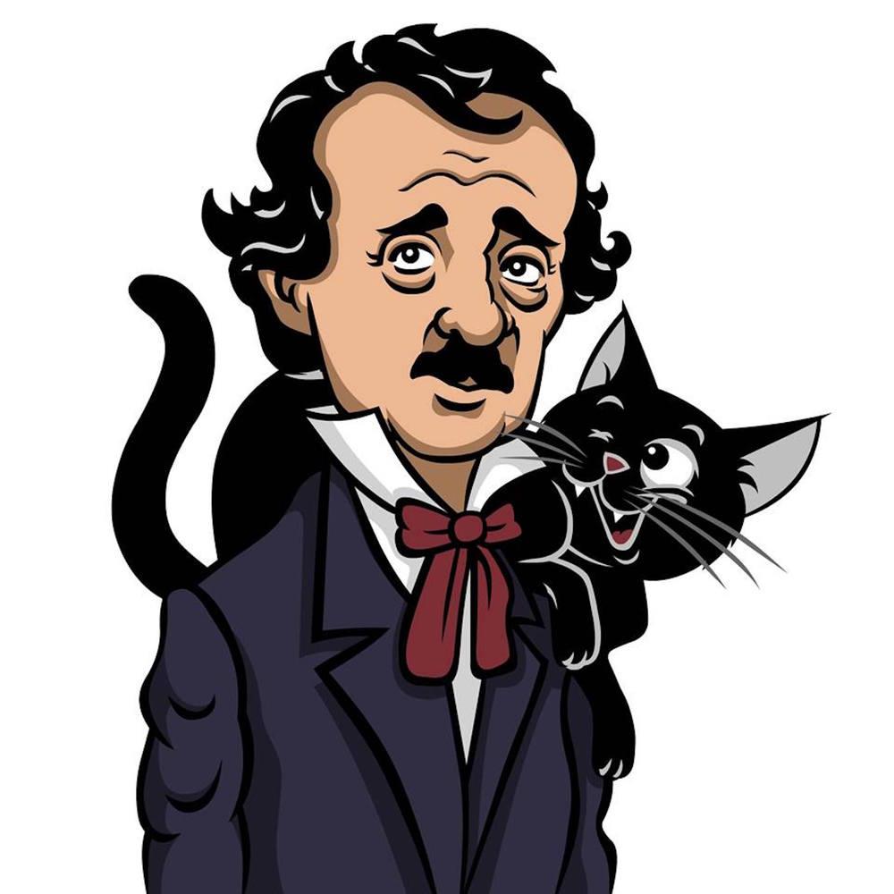 Edgar Allan Poe & Pluto illustration by Steve Vitale