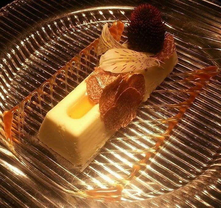 CHEF FRANCESCO PECORARO   Stracchino cheese and acacia honey mousse with white truffle from alba