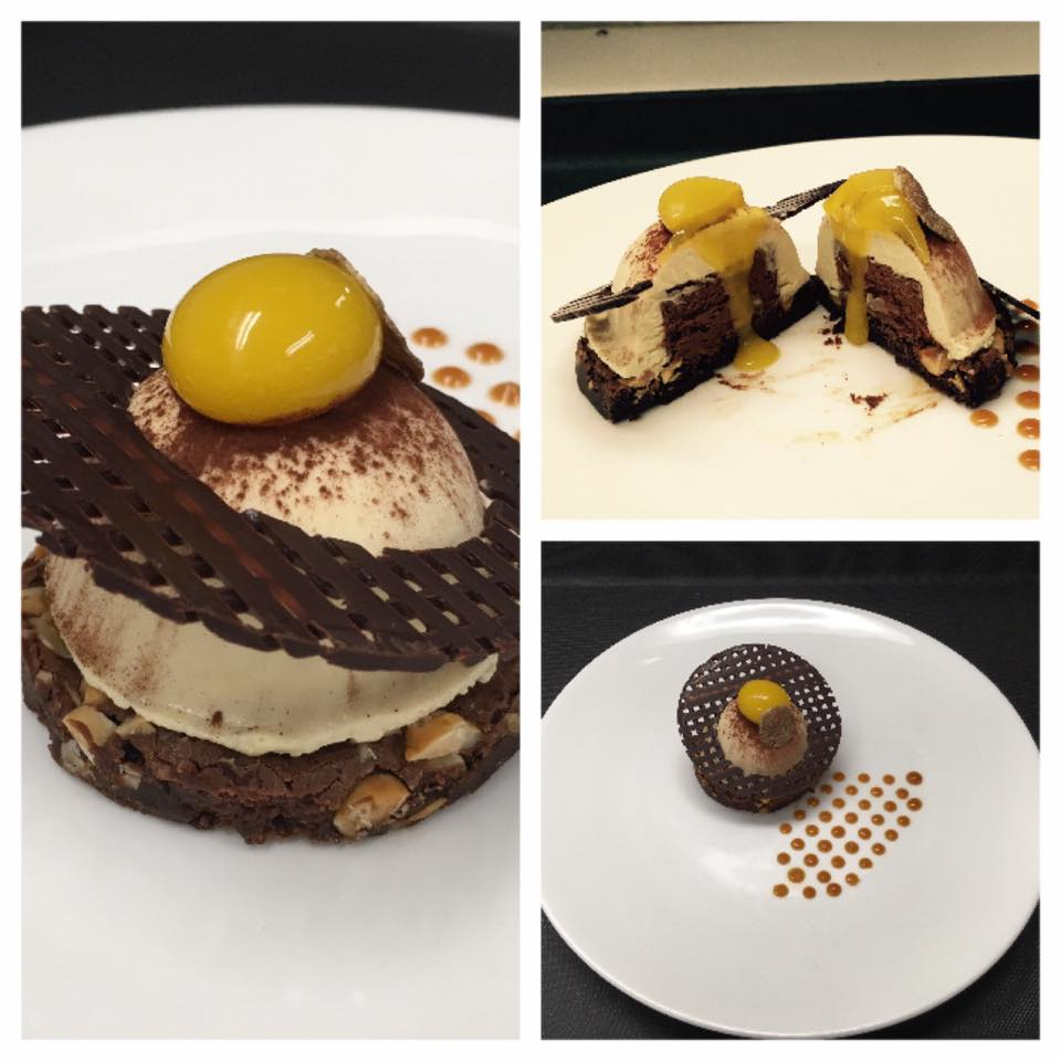 CHEF VINCENZO GAROFALO   hazelnut fudge brownie, white truffle honey ganache center, truffle infussed mascarpone mousse, orange and burnt honey sphere.