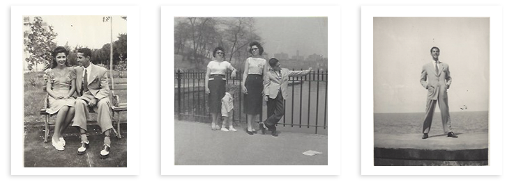 Left: Eloina and Juan Sr. as newlyweds in 1946.  Middle: Central Park is the Fernandez family's new backyard. Right: Dapper Juan Sr. in Havana.