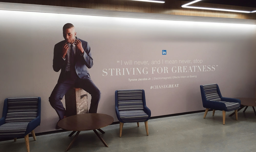 Campaign mural in LinkedIn's San Francisco office