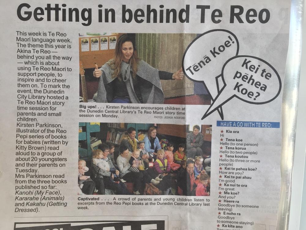 Ka mau! Kirsten made the papers with her performance at Te kete wānanga o Ōtepoti.