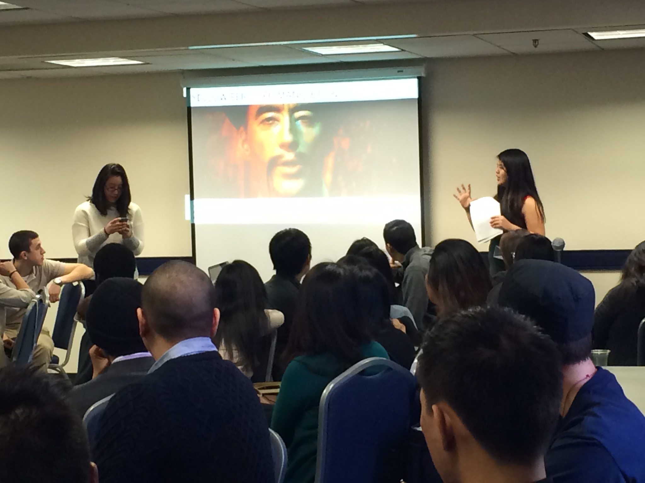 Facilitators Gina and Tiffany lead a discussion on different stereotypes APIA characters face.