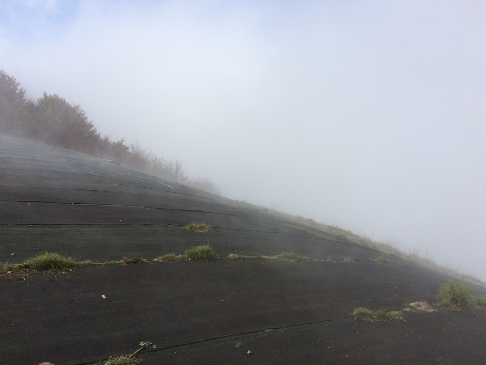 This is take off point for paragliders. Can you imagine taking that jump blind? The fog was impossible to see through.