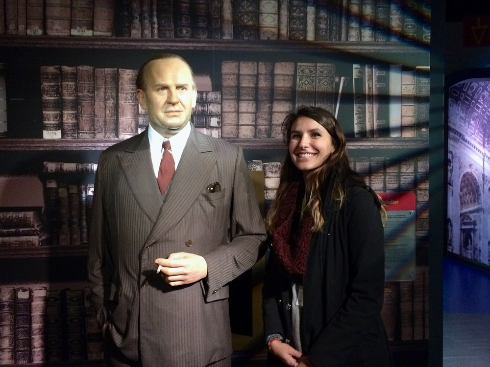 Moira's Liam Neeson obsession is showing. Here she is posing with the real Schindler.