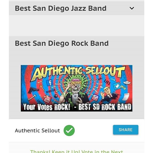 """Authentic Sellout has made it to the finals for """"Best Rock band of 2018"""" for SD City Beat """"Best of San Diego"""". Please take a quick moment of your time to vote for us. We would greatly appreciate your support! You can vote at the link below 👇  http://sdcitybeat.com/bestofsd#/gallery/?group=296681  #sandiegoband #sandiego #sandiegopunk #punkband #punkmusic #rock #sdcitybeat #sandegocitybeat #yourvotecounts #yourvotematters #voteforus #vote #sdlocal #awardnomination #sdlocalmusicscene #bestof #bestofsandiego"""