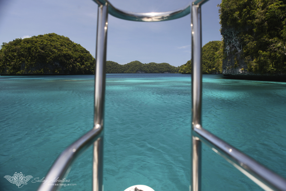 Entering one of Segue's favorite anchorages in the stunning Rock Islands, Palau