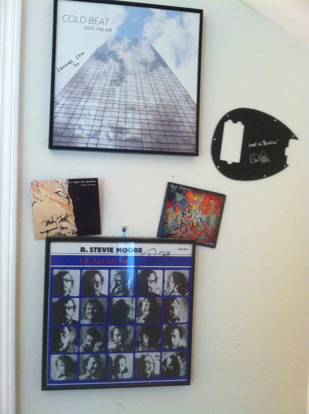My bassists shrine.It's coming about completely unplanned so far.#Mike Watt #Hannah Lew #Phil Lesh #R. Stevie Moore #Cris Kirkwod