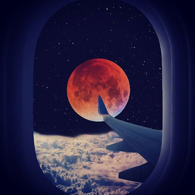 Full Blood Moon, total lunar eclipse, witnessed in all it's beauty tonight from above the clouds over the Atlantic Ocean.  Sun is Leo, passion and confidence abound, and moon is in Aquarius.  Happy Moon Bathing Hippies.  Get the crystals out and give them a good charging!🙏! #moon #lunarcycles #feminineenergy #blood #eclipse #space #colours #magical #like4likes